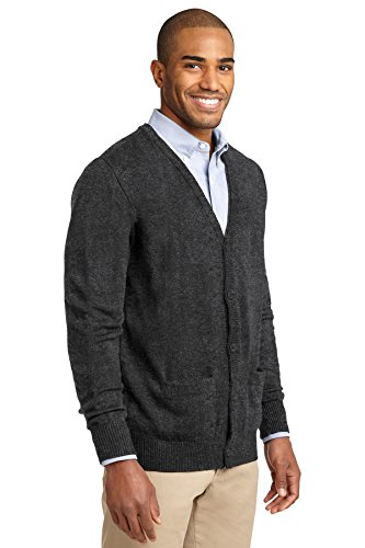 Port Authority Herren Pullover V-Ausschnitt Strickjacke mit Taschen Grau - Grau