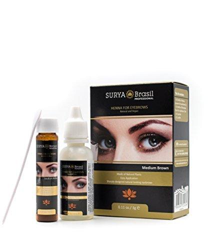 (Light Brown) - Surya Brasil Henna for Eyebrows (with free Sleek Compact Mirror) (Light Brown) -