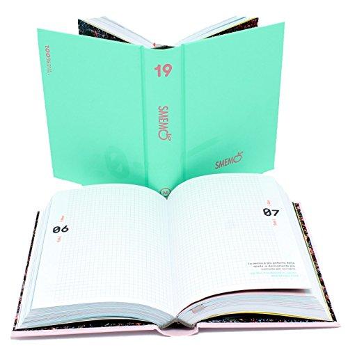Smemoranda diario 16m size l verde chiaro/rosa