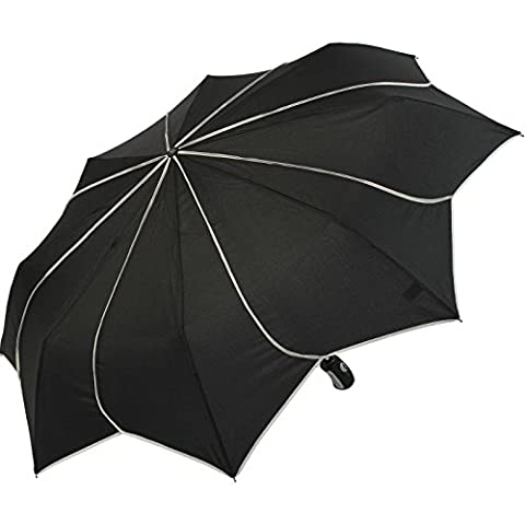 Parapluie pliant ouverture fermeture automatique Pierre Cardin Sunflower blanc et noir liserés noirs