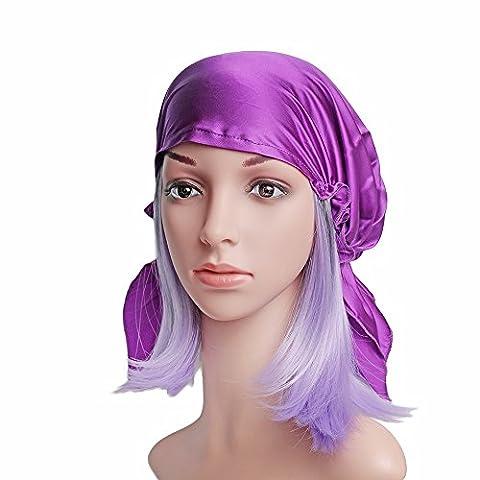 Emmet Sleep Cap Mütze Seide mit Elastikband Soft Breathable(lila) (Beanie Halb Helm)