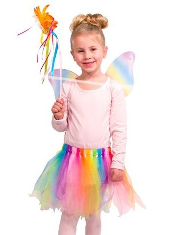 (Folat 21846 -Regenbogen-Fee Kostüm - Rock mit Flügeln, Fits Alle, mehrfarbig)