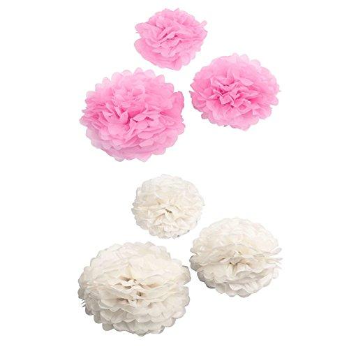 greetoy Seidenpapier Pompons rosa weiß Deko Set 6 tlg Wabenbälle Hochzeit Geburtstagsdeko Babyparty
