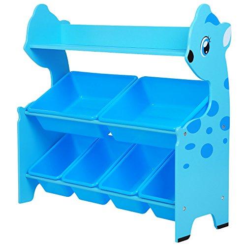 SONGMICS Spielzeugregal in Tierform mit 6 Boxen und 1 Ablage Kinderregal zur Aufbewahrung von Spielzeug Bücher Spielgeräte Kleidung GKR21BU