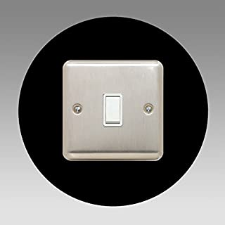 Single Light Switch Surround | Round | Acrylic Back Panel or Finger Plate | Plug, Colour:Black