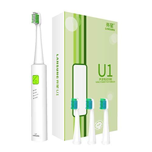 Ipotch set spazzolino elettrico cavo usb 3 teste ricambio spazzole bambini adulti accessori - bianco verde, 20 cm