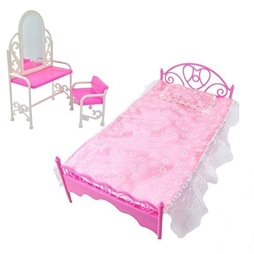Fashion Pink Bed Dressing Table & Chair Set For Barbies Dolls Bedroom Furniture (Not Mattel) by Fat-catz-copy-catz