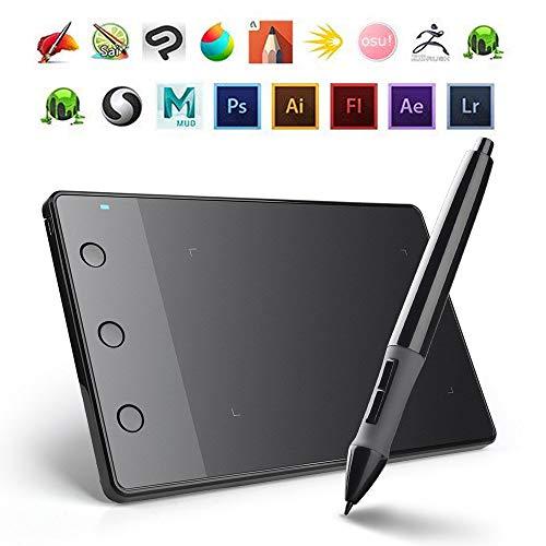 WADEO Drawing Tablet PC Grafiktablett Profi Zeichentablett 4x2.23 Zoll Digitalisiertablett Kabellos Batterielos Stift Grafiktablett Signaturpad für Mac und Windows