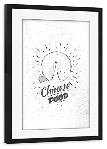 artboxONE Poster mit Rahmen schwarz 30x20 cm Chinese Food Fortune Cookies von Anna Kozlenko - gerahmtes Poster (Paper Fortune Cookies)