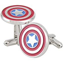 Rhodium Plated Captain America Cufflinks Marvel Comics Formal Wear