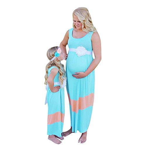 de Kleidung Nähte Mama ich Frauen Schwangere Welle Spleiß Ärmelloses Kleid Familie blau S ()