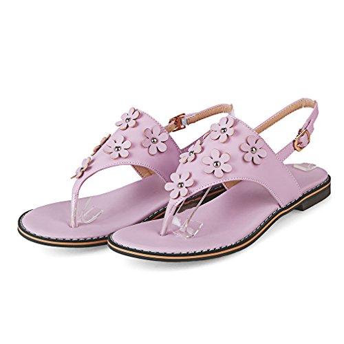 YE Damen Flache Knöchelriemchen Sandalen Zehentrenner mit Blumen und Schnalle Bequem Süße Schuhe Lila