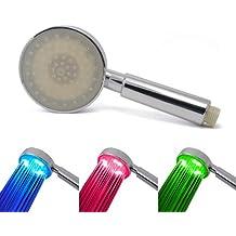 Incutex cabeza de ducha LED de ducha alcachofa mancha se puede variar según el colour azul de la temperatura en colour rojo y verde, Model 1
