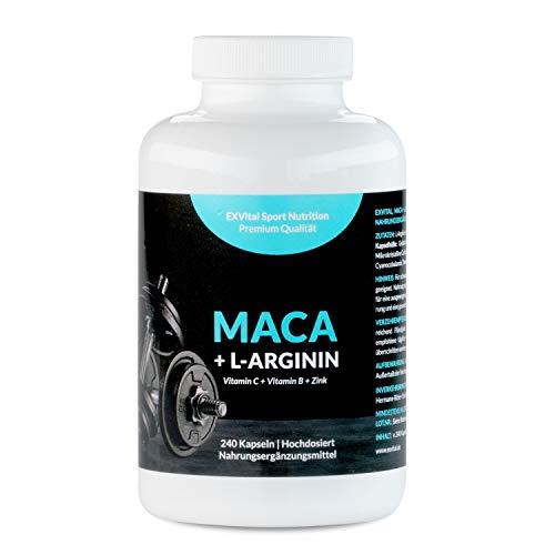 Maca Kapseln 1000 mg + L-Arginin 1800 mg + Vitamine + Zink, hochdosiert, 2-Monatspackung mit 240 Kapseln in deutscher Premiumqualität, Geld zurück Garantie, 1er Pack (1 x 206,4 g) von EXVital