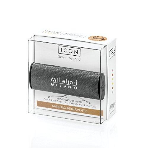 Millefiori Profumatore per Auto collezione ICON colore grigio, Fragranza Sandalo Bergamotto