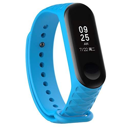 Bestow XiaoMi Mi Band 3 Patr¨®n TPU Smart Reloj de Pulsera Correa de Reloj Reloj Inteligente Electronics Gadgets Reloj de Pulsera (Azul01)