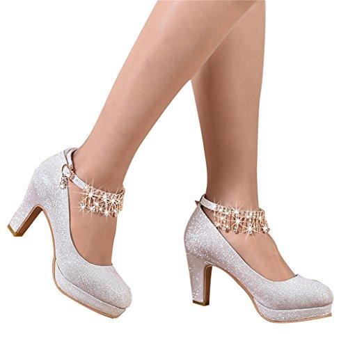Beautiful bridal shoes scarpe da sposa - abiti da damigella d'onore in argento tacchi alti (con alte 8cm) - scarpe da sposa da donna (colore : silver, dimensioni : 39)