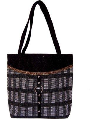 Womaniya Jute And Canvas Women\'s Handbag - Black (Woman-1044)