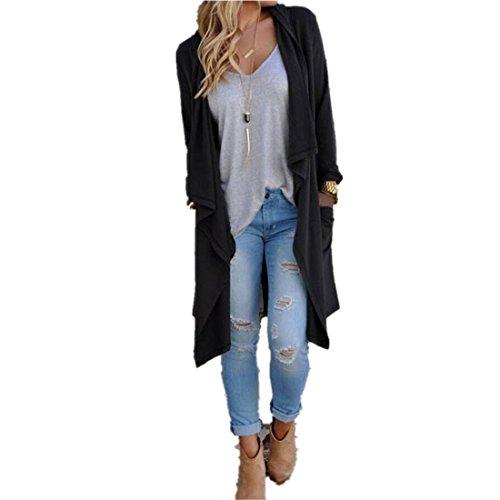 Kolylong® Frauen Unregelmäßige Langarm Cardigan Frau schöne klassische Strickjacke Lockerer Westen Jackenmantel (Schwarz) (Drapiert Leder)