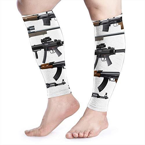 dfegyfr Rifle Machine Gun Shotgun Calf Compression Sleeve Men Womens Running Leg Sleeve for Shin Splint Muscle Pain Relief (1 Pair) -