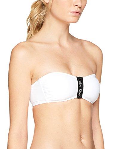 Calvin Klein Damen Bikinioberteil Zip Bandeau-RP, Weiß (Pvh White 100), 36 (Herstellergröße: S)