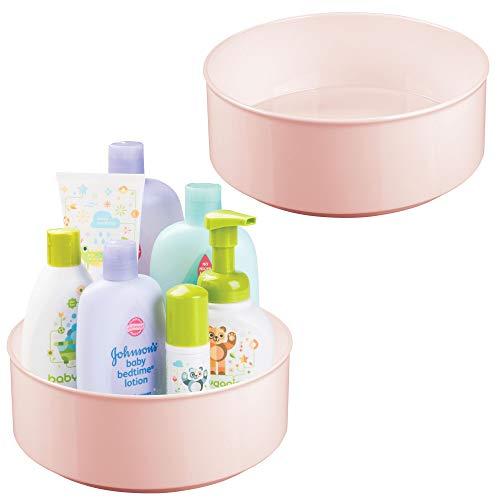 mDesign 2er Set drehbare Ablage für Zubehör - stilvolle Ablagefläche für Babyausstattung wie Flaschen und Schnuller - runde Aufbewahrung aus BPA-freiem Kunststoff und Edelstahl - rosa