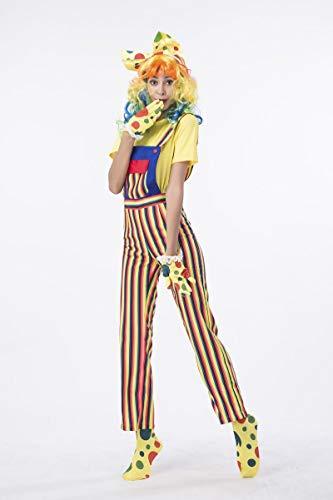 Clown Kostüm Weiblich - Simmia Halloween Kostüm,Halloween Kostüm Clown Kleid Cosplay Gestreiften Latzanzug, 1835 weiblich, XL