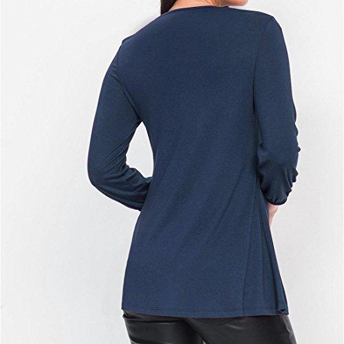 Blu Camicette Solidi T In Donna Con Manadlian Fondamentali shirt A A Pieghe Camicie V Pieghe Scollo ZnICEwxaUE