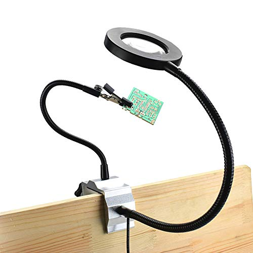 Multifunktionale Lupe 3X Vergrößerungsglas mit LED Beleuchtung Drei Hände Löthilfe Desktop Lupe...