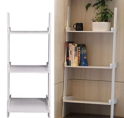 3 Tier Wooden Wall Ladder Storage Shelves - White - low-cost UK light shop.