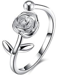 Anillo de compromiso, HMILYDYK, ajustable, de plata de ley 925, diseño de