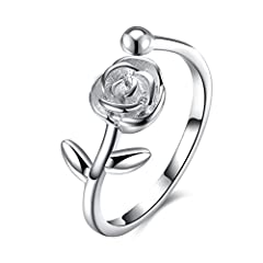 Idea Regalo - Hmilydyk - Anello di fidanzamento classico in argento Sterling 925, da donna, motivo rosa, diametro regolabile, stile vintage