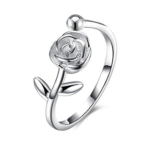 Hmilydyk Argent sterling 925Femme Rose détaillée Bagues vintage classique Fleur ajustable de fiançailles Band