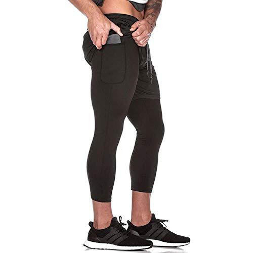 Geggur Herren 2 in1 Dual Kurze Sporthose Shorts, Laufshorts mit Telefon Tasche Kurze Hose Fitnesshose Laufhose Trainingshose Draussen Leicht Atmungsaktiv