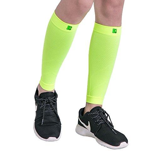 BRACOO Kompressionsstulpen - Beinlinge - Wadenkompression Klasse 1 - Laufstulpen | Steigerung der sportlichen Leistung beim Laufen, Radfahren & Fitness | L | gelb