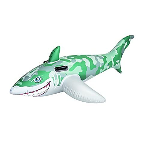 Bestway Army Camo Inflatable Shark Rider Swimming Pool Float with