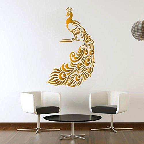 pfau-golden-wandtattoo-vogel-aufkleber-kunst-wohnzimmer-vinyl-wandbild-grafiken-hall