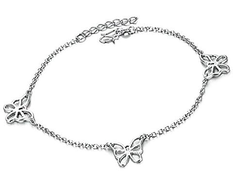 amdxd Bracelet pour femme Cheville Charms pieds nus Sandales Corde chaîne plaqué or blanc Extension réglable