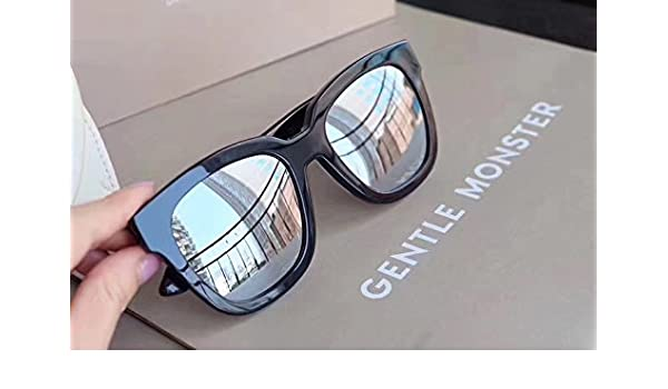 c73669fb9391 New Gentle man or Women Monster Sunglasses V brand Dreamer Hoff 01(1m) for Gentle  monster sunglasses-black frame Silver mirrored lenses  Amazon.co.uk  ...