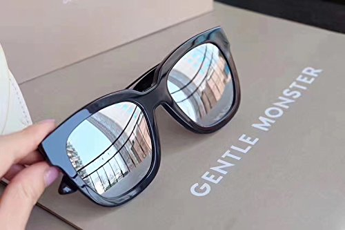 Unisex Sonnenbrille Für sanfte Monster-Sonnenbrille New Gentle man or Women Monster eyeware V brand Dreamer Hoff sunglasses for Gentle monster sunglasses -black frame Silver mirrored lenses