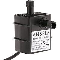 ANSELF - Bomba de Agua / Aceite / Líquido para Fuente Sumergible Acuario Circulación Impermeable & Sin Cepillo (Max.Lift:3.5m,DC12V,5W,Mini micro)