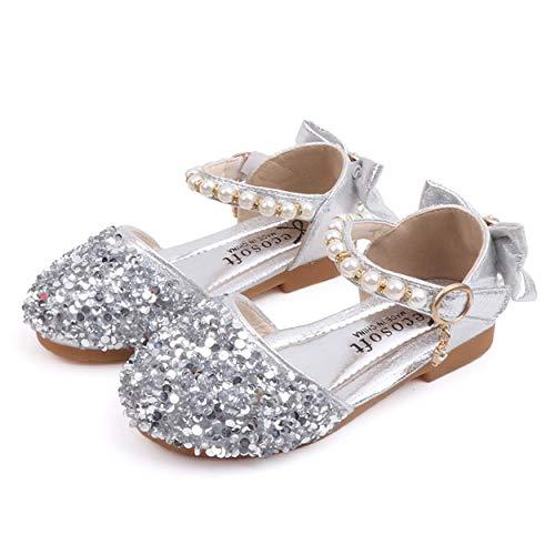 YOSICIL Mädchen Prinzessin Schuhe Kinder ELSA Sandalen mit Pailletten Glitzer Schuhe Perlen Festliche Schuhe Kostüm Zubehör Fasching Karneval Halloween Tanzball Party (Perlen Übergröße Kostüm)