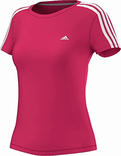 adidas Damen Kurzärmliges Shirt Essentials 3-Stripes Tee Rot