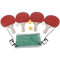 perfk 4 Juego de Tenis de Mesa con Raquetas Pelotas y Redes para Práctica y Entrenamiento - Mango Blanco, 250x150x5mm