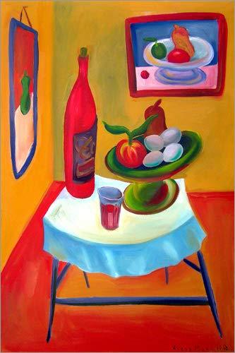 Posterlounge Holzbild 40 x 60 cm: Stillleben mit rotem Wein von Diego Manuel Rodriguez
