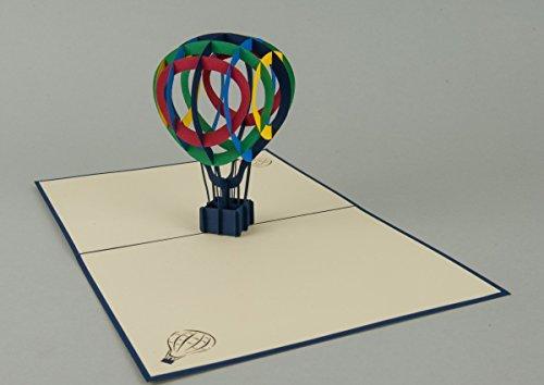 Heißluftballon 3-D Pop Up Grußkarte Geburtstag Gutschein Handmade 20x15cm