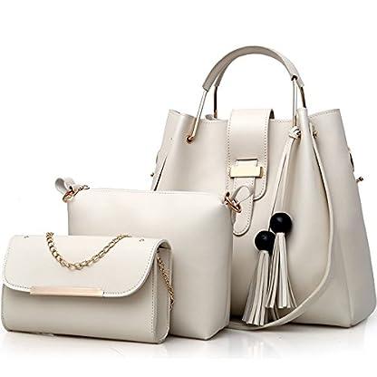 FiveloveTwo-Damen-3Pcs-PU-Leder-Tasche-Set-Handtasche-Schultertasche-Umhngetasche-Henkeltaschen-Rucksackhandtaschen-Shopper-Clutches-Handbag-Set-Tote-Tragetaschen