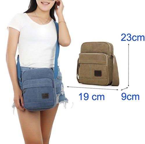Super modernes Herren und Damen kleine Vintage Canvas Umhängetasche Messenger Bag Cross-Body-Tasche Organizer Multi Taschen Schultertasche Grün