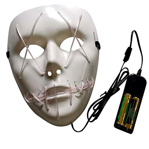 Oyedens Halloween Maske Kinder 1 Set Halloween Horror Glowing Mask Das Purge Film EL Wire Dj Party Festival Halloween Kostüm Led Maske Hq - Weiße Kostüm Perücke Zum Verkauf
