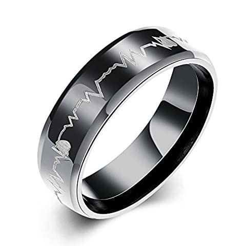 Eternity Love Men's Cardiogram Heartbeat Rings 6MM Black 316L Titanium Stainless Steel Engraving Laser Pattern Promise Wedding Rings Bands Beveled Edge High Polished Finish, JSS-019-A-9-UK